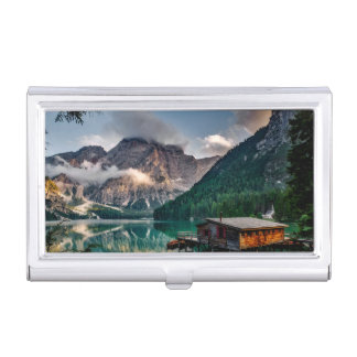Italian Mountains Lake Landscape Photo Business Card Holder