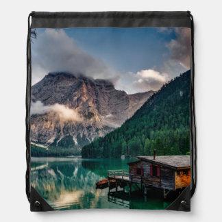 Italian Mountains Lake Landscape Photo Drawstring Bag