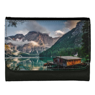Italian Mountains Lake Landscape Photo Leather Wallet For Women