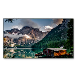 Italian Mountains Lake Landscape Photo Magnetic Business Card