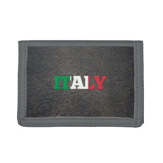 Italian name and flag tri-fold wallets