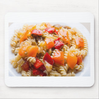 Italian pasta fusilli with vegetable ragout of pep mouse pad