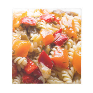 Italian pasta fusilli with vegetable ragout of pep notepads