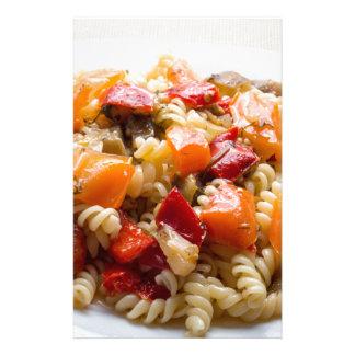 Italian pasta fusilli with vegetable sauce custom stationery