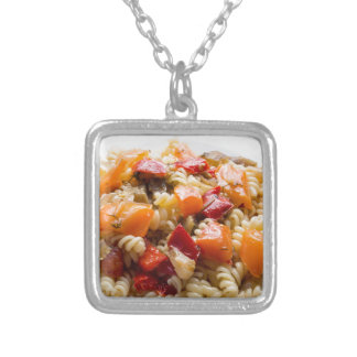 Italian pasta fusilli with vegetable sauce silver plated necklace