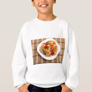 Italian pasta fusilli wooden background sweatshirt