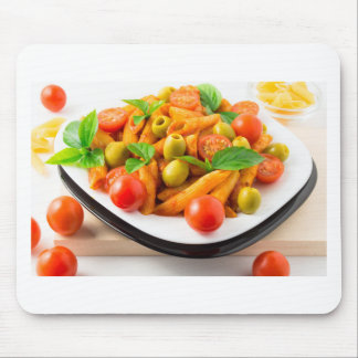 Italian pasta penne in tomato sauce with olives mouse pad