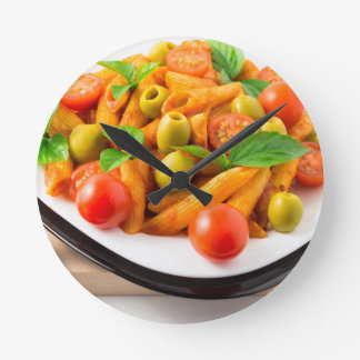Italian pasta penne in tomato sauce with olives round clock