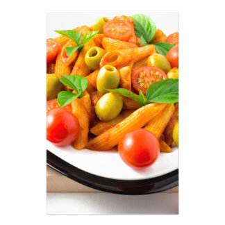 Italian pasta penne in tomato sauce with olives stationery