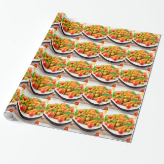 Italian pasta penne in tomato sauce with olives wrapping paper
