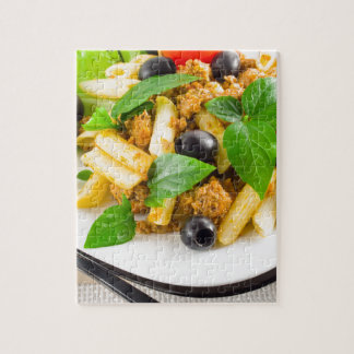 Italian pasta rigatoni with bolognese, beef jigsaw puzzle