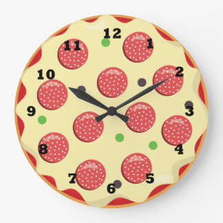 Italian pizza fun food wall kitchen clock