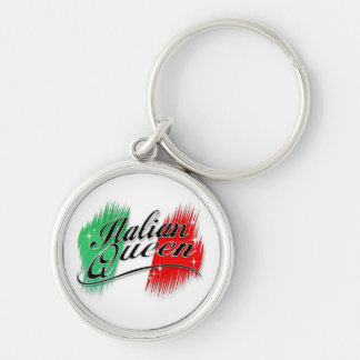 Italian Queen Silver-Colored Round Key Ring