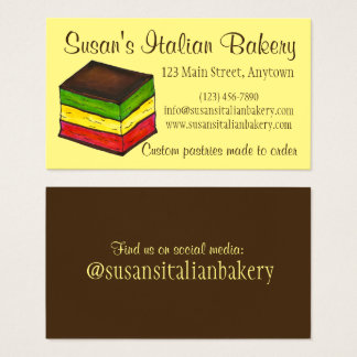 Italian Rainbow Seven Layer Cookie Bakery Pastry Business Card
