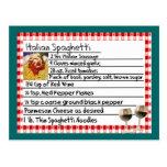 """Italian Recipe Card Gifts """"Spaghetti"""" Postcard"""