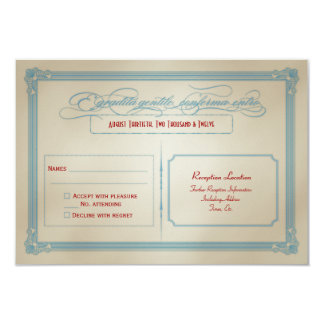 "Italian Red White & Blue DIY Wedding RSVP 3.5"" X 5"" Invitation Card"
