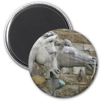 Italian Renaissance sculpture of horses 6 Cm Round Magnet