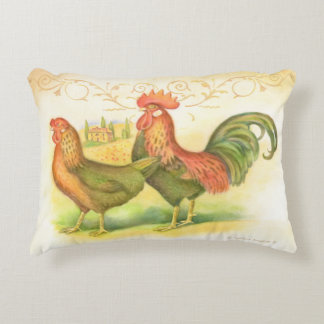 Italian rooster and hen villa in background decorative cushion