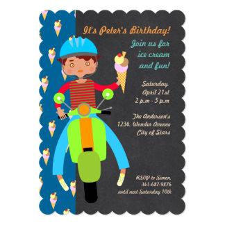 Italian scooter boy Birthday Party invitation
