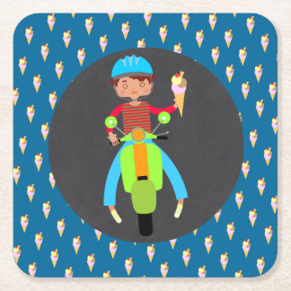 Italian scooter boy Birthday Party Square Paper Coaster