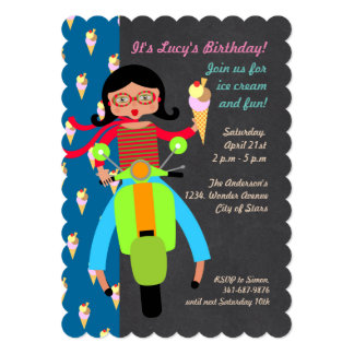 Italian scooter girl Birthday Party invitation