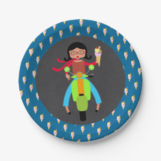 Italian scooter girl Birthday Party Paper Plate