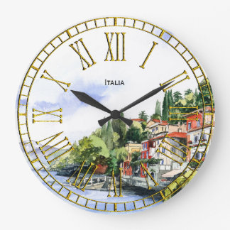 Italian Seacoast Watercolor Your Text Large Clock
