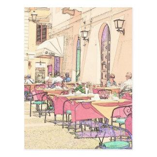 Italian Sidewalk Cafe Postcard