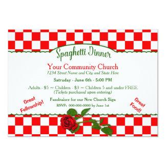 Italian Spaghetti Dinner Invitaton - Red/White Card
