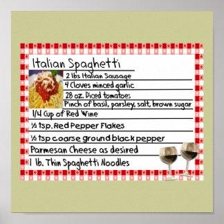 Italian Spaghetti Recipe Poster