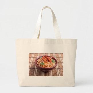 Italian spaghetti with tomato relish and basil large tote bag