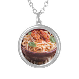 Italian spaghetti with tomato relish and basil silver plated necklace