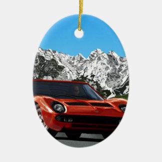 Italian sports car mountain drive ceramic oval decoration
