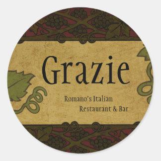 Italian Style - Restaurant/Store Add Round Sticker