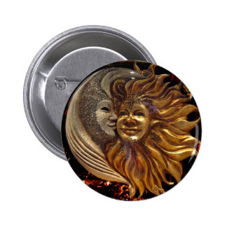 Italian Sun & Moon Carnaval Masks 6 Cm Round Badge