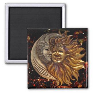 Italian Sun & Moon Carnaval Masks Square Magnet