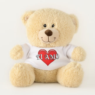 Italian Ti Amo I Love You Red Heart Teddy Bear