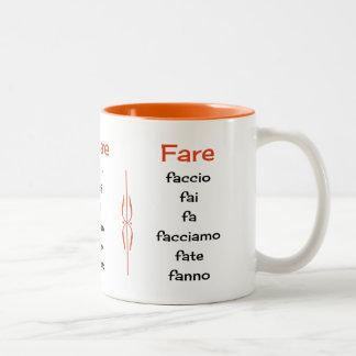 Italian verbs learning teaching Two-Tone coffee mug