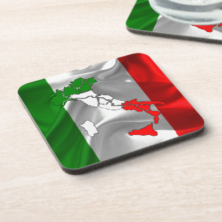 Italian waving flag drink coaster