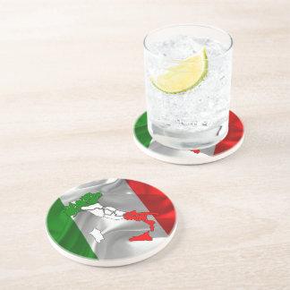 Italian waving flag drink coasters