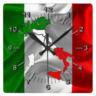 Italian waving flag square wall clock