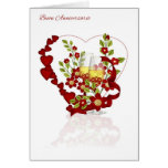 Italian Wedding Anniversary With Champagne Flowers Greeting Card