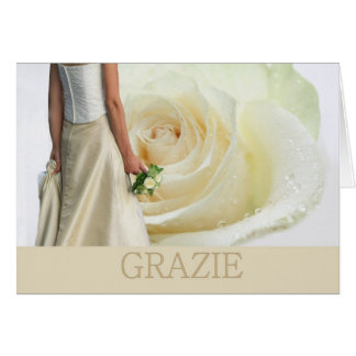 Italian Wedding Thank You White rose and bride Greeting Card