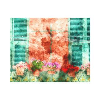 Italian Window With Open Wooden Shutters Canvas Print