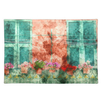 Italian Window With Open Wooden Shutters Placemat
