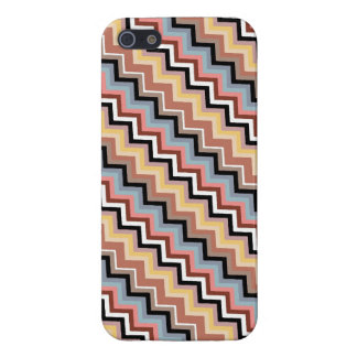 Italian Zig Zag Diagonal Brown Blue Savvy Cover For iPhone 5