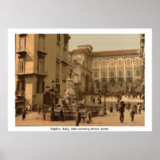 Italy, 19th century Naples street scene Poster