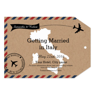 Italy Airmail Luggage Tag Save Dates 13 Cm X 18 Cm Invitation Card
