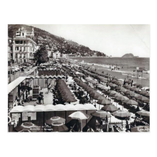 Italy,  Alassio, Umbrellas on the beach Postcard