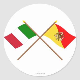 Italy and Sicilia crossed flags Round Sticker